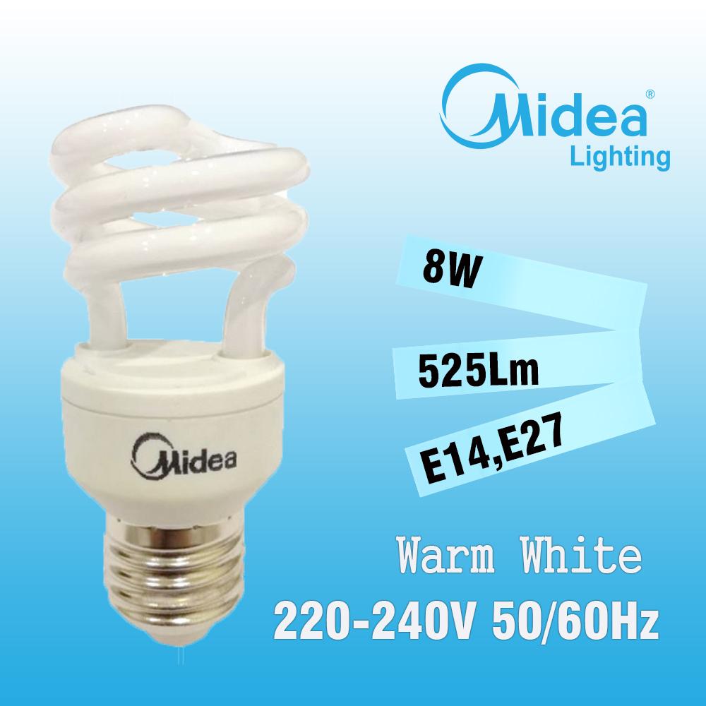 Midea Mini Star-T2 Spiral 8W E14/E27 Warm White (Buy 1 Free 1)