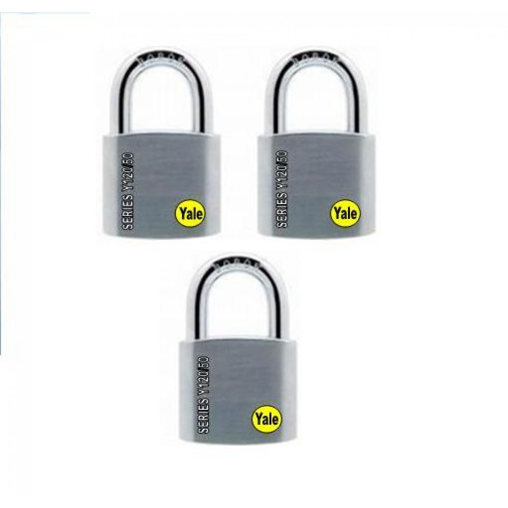 Yale Solid Brass Padlock (50mm) Y120-50-127-3-P1