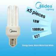 image of Midea Saver Clever T3 4U 18W E27 Warm White/Cool White X 5PCS