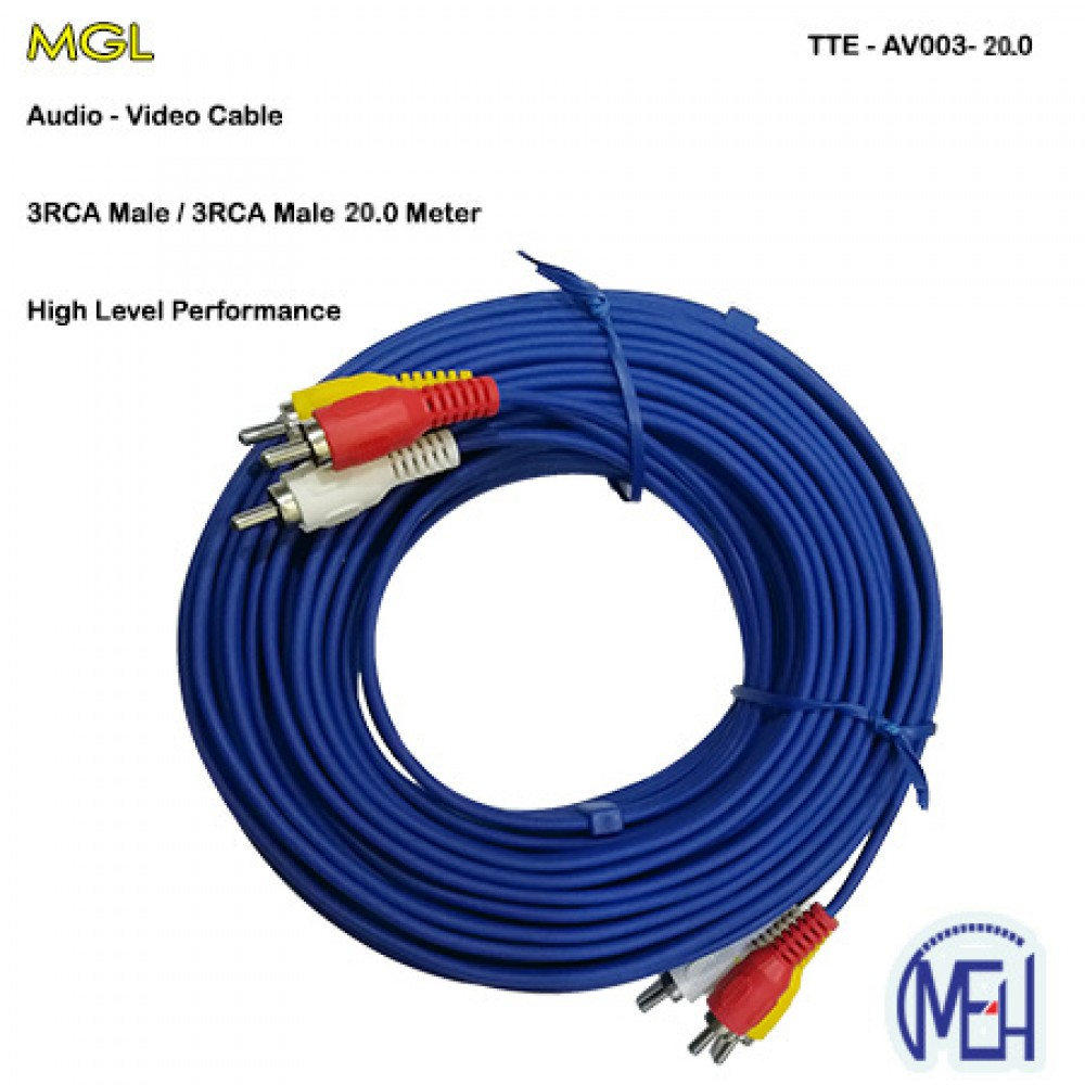 Audio-Video Cable /  3RCA Male 20.0 Meter  (TTE-AV003-20.0)