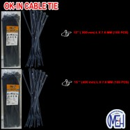 "image of   OK-IN Cable Tie 12"" (100MM)L X 7.6 MM (White / Black)"