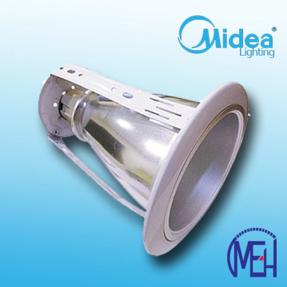 """Midea 4"""" Vertical Round Downlight Casing White+LED Bulb 10W"""