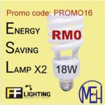FF Lighting Energy Saving Lamp Spiral 18W E27 Warm White -2pcs