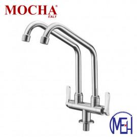image of Mocha Pillar Mounted Sink Tap (Double-'2' Series) M2113