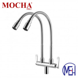 image of Mocha Flexible Pillar Mounted Sink Tap (Double) M2173