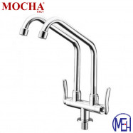image of Mocha Pillar Mounted Sink Tap (Double-'1' Series) M1113