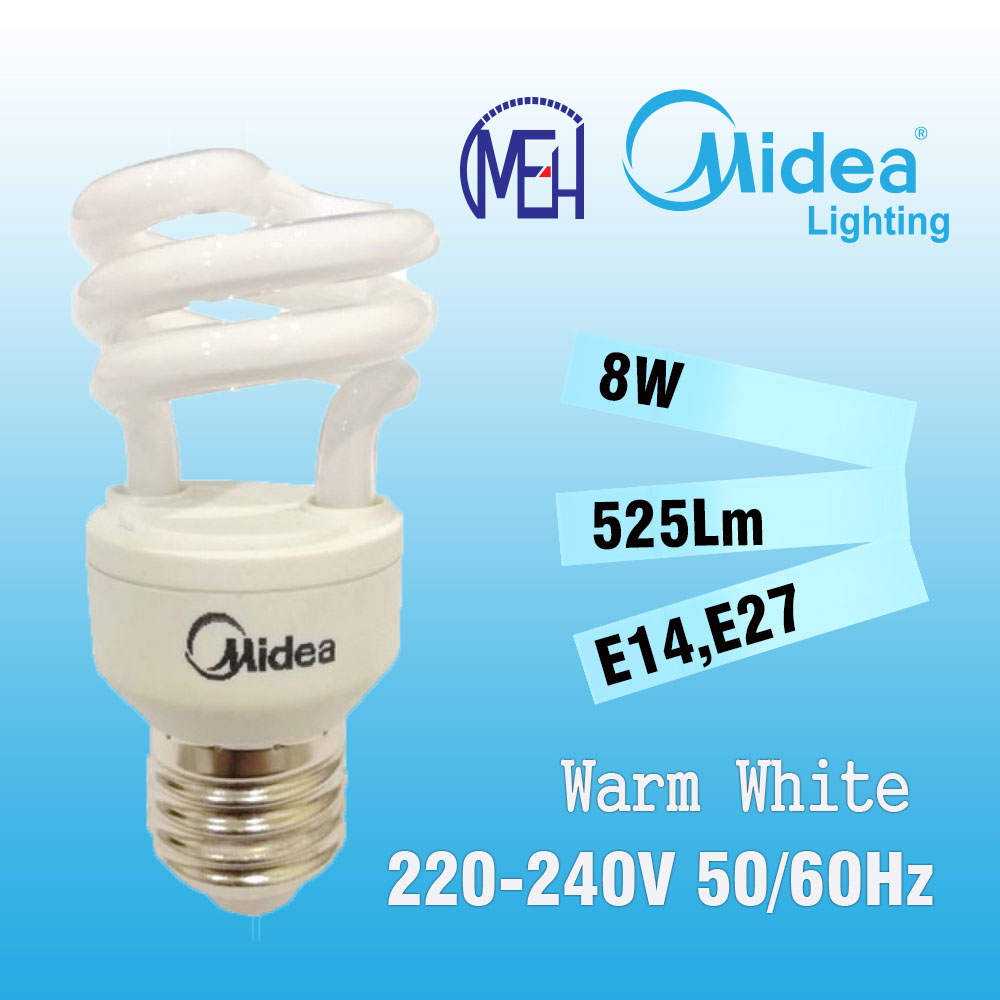 Midea Mini Star-T2 Spiral 8W E14/E27 Warm White (Buy 1 Free 1)