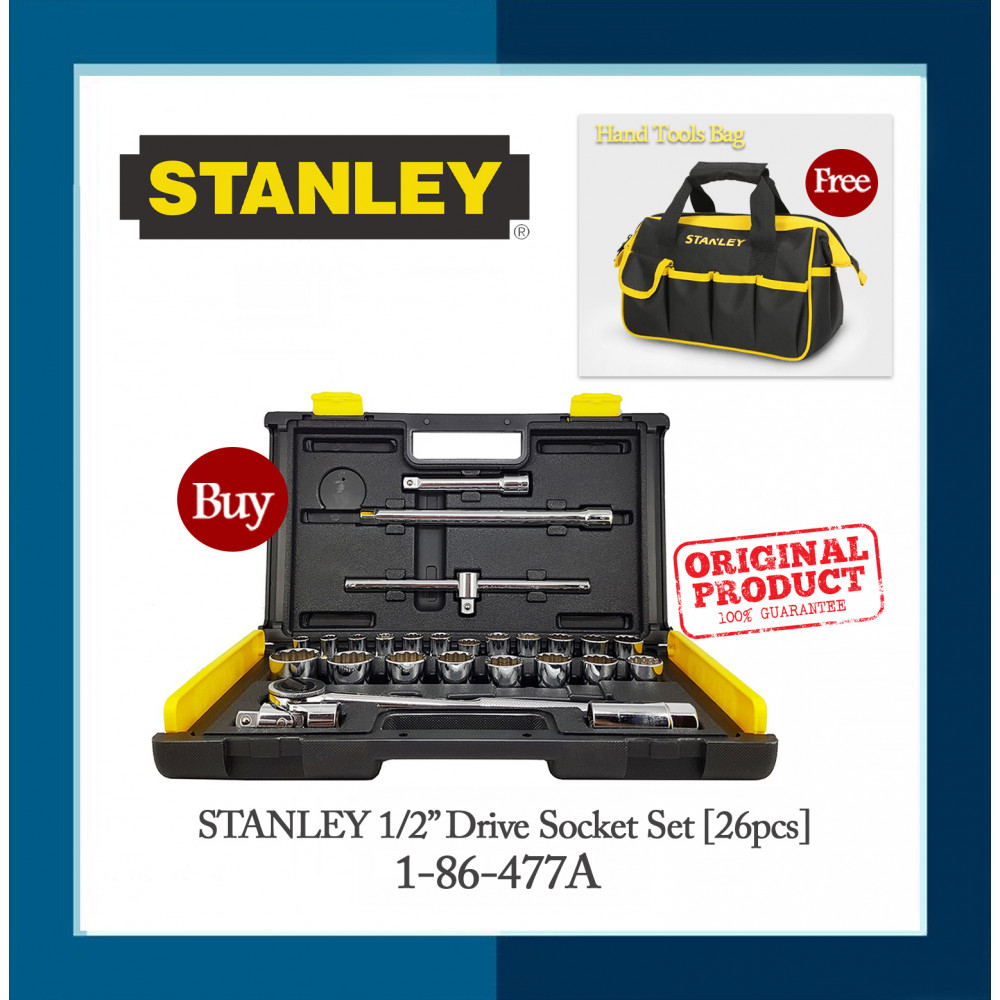 "Stanley 1/2"" Drive Socket Set (26pcs) l 1-86-477A"