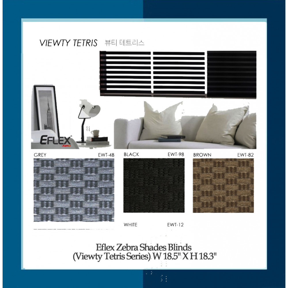 Eflex Zebra Shades Blinds (Viewty Tetris Series) W 18.5'' X H 18.3''