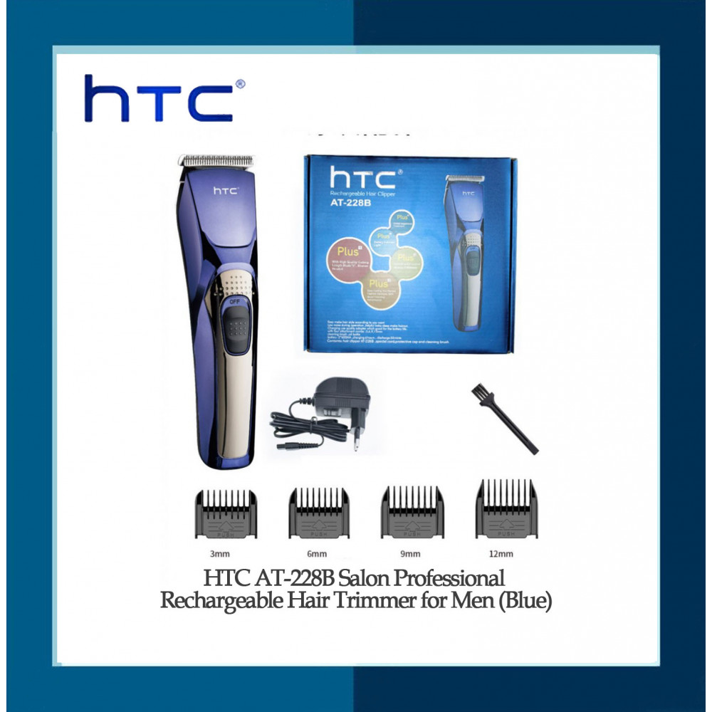 HTC AT-228B Salon Professional Rechargeable Hair Trimmer for Men (Blue)