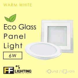image of FF Lighting LED Eco Glass Panel Light 6W Round Warm White