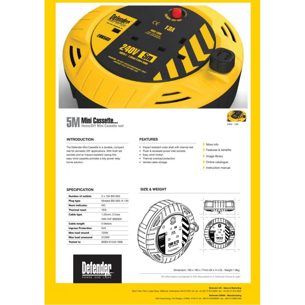 Defender Mini Cassette Reel 5 meter (Power Cord) E86575