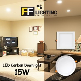 image of FFL LED CARBON DOWNLIGHT 15W SQUARE EYE CARE SERIES