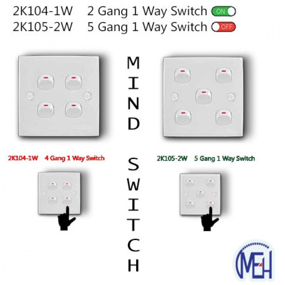 2K104-1W    2 Gang 1 Way Switch