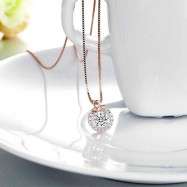 image of Dancing Stone Pendant Necklace Solid 925 Sterling Silver Rose Gold Plated