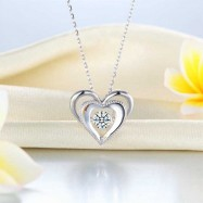 image of Heart Dancing Stone Pendant Necklace 925 Sterling Silver Good for Wedding Bridesmaid Gift XFN8088