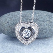 image of Dancing Stone Heart Pendant Necklace 925 Sterling Silver Good for Bridal Bridesmaid Gift XFN8051