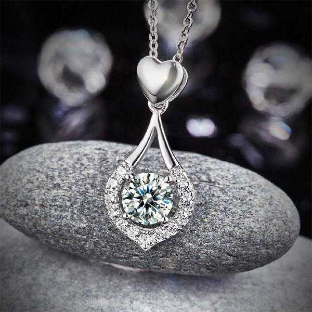 Heart Tear Drop Pendant Necklace 925 Sterling Silver Jewelry Created Diamond XFN8059