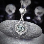 Heart Tear Drop Pendant Necklace Solid 925 Sterling Silver Created Diamond XFN8059