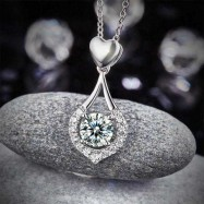 image of Heart Tear Drop Pendant Necklace 925 Sterling Silver Jewelry Created Diamond XFN8059