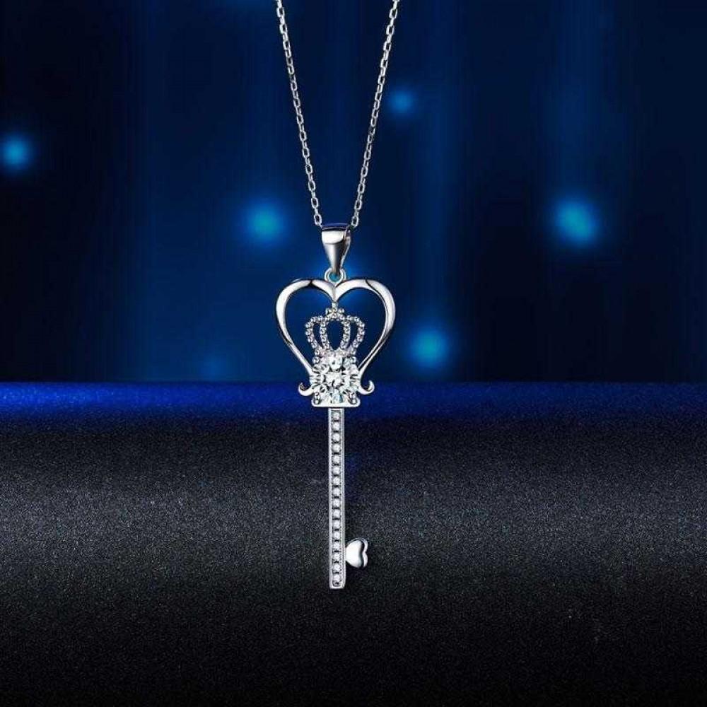 Love Heart Crown Key 925 Sterling Silver Pendant Necklace Created Diamond Jewelry 1.25 Carat XFN8085