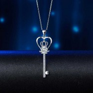 image of Love Heart Crown Key 925 Sterling Silver Pendant Necklace Created Diamond Jewelry 1.25 Carat XFN8085