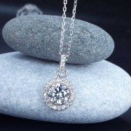 image of 1 Carat Round Cut Created Diamond 925 Sterling Silver Pendant Necklace XFN8037