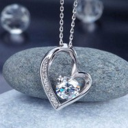 image of 1 Carat Created Diamond Heart 925 Sterling Silver Pendant Necklace XFN8033