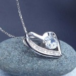 1 Carat Created Diamond Heart 925 Sterling Silver Pendant Necklace XFN8033