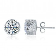image of 1.5 Carat Vintage Style Stud 925 Sterling Silver Earrings XFE8106