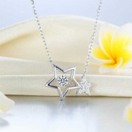 image of Dancing Stone Stars Necklace 925 Sterling Silver XFN8090