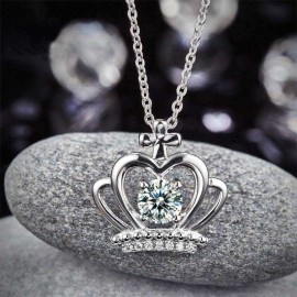 image of Crown Pendant Necklace Solid 925 Sterling Silver Jewelry Created Diamond XFN8058