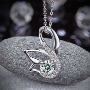 image of Swan Pendant Necklace 925 Sterling Silver Jewelry Created Diamond XFN8061