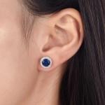 Navy Blue Created Sapphire Stud Earrings 925 Sterling Silver Jewelry XFE8109