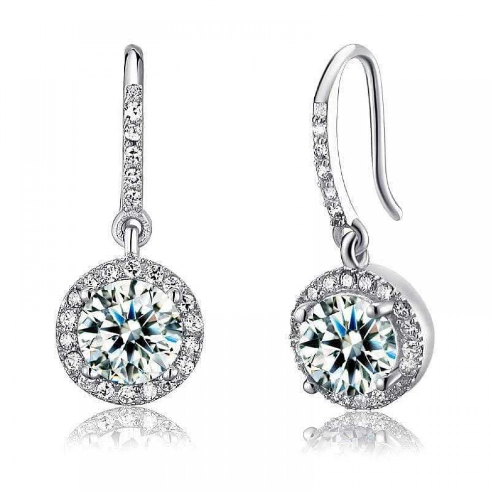 1.5 Carat Created Diamond 925 Sterling Silver Dangle Earrings   XFE8026