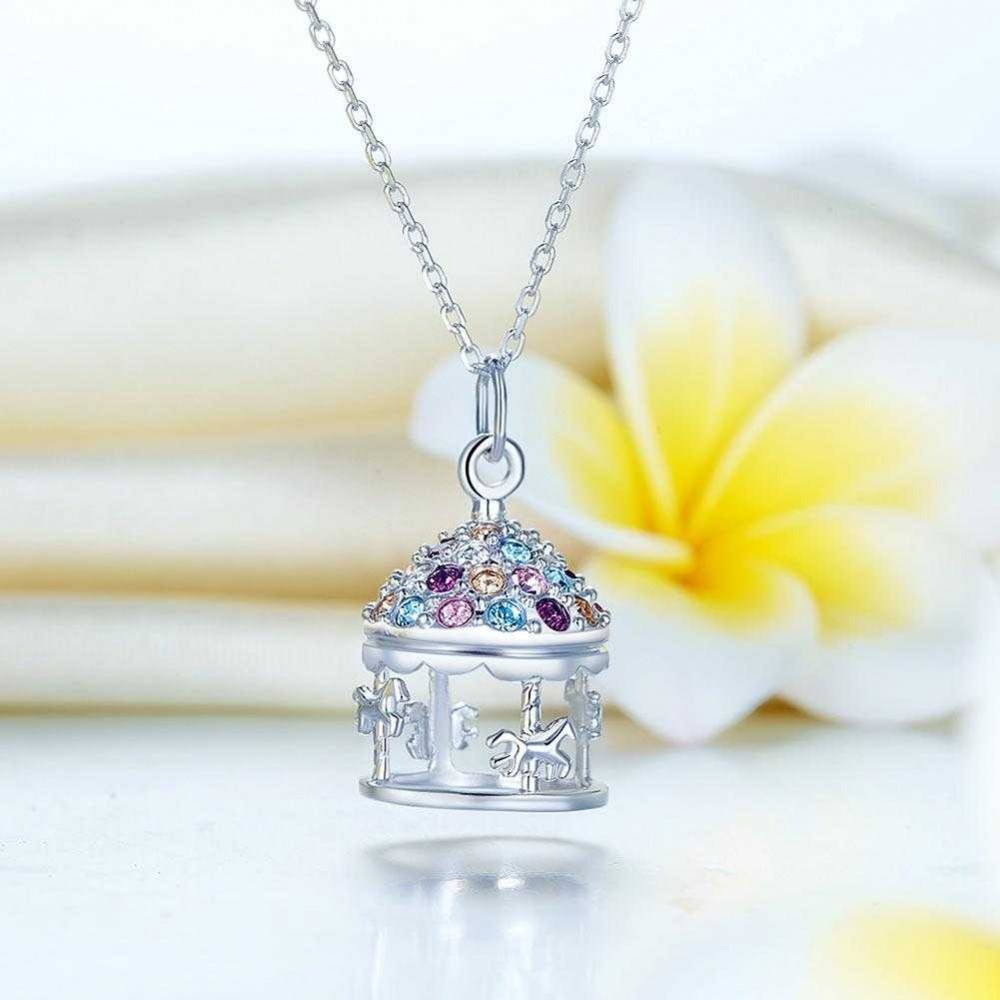 Multi-Color Merry-Go-Round Pendant Necklace Solid 925 Sterling Silver Jewelry  XFN8112