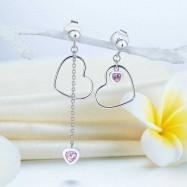 image of 925 Sterling Silver Dangle Drop Pink Heart Earrings XFE8152