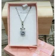 image of 8mm Round Cut Clear Cubic Zirconia Fashion Pendant Necklace P11117R-S01