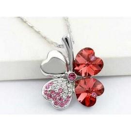 image of 4 Leaf Clover Flower Heart Love Necklace use Swarovski Crystal XN329