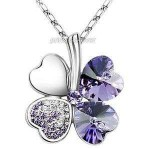 4 Leaf Clover Flower Heart Love Necklace use Swarovski Crystal XN329