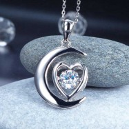 image of Dancing Stone Moon Heart Pendant Necklace 925 Sterling Silver - Good for Bridal Bridesmaid Gift XFN8056