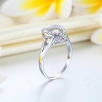 Dancing Stone Heart Solid 925 Sterling Silver Ring Fashion Wedding Jewelry XFR8283