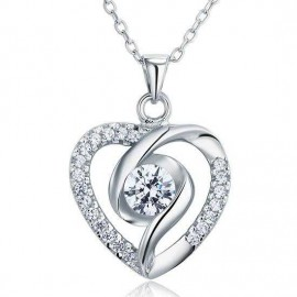image of Created Diamond Heart 925 Sterling Silver Pendant Necklace XFN8032