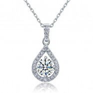 image of 1 Carat Round Cut Created Diamond Bridal 925 Sterling Silver Pendant Necklace  XFN8035