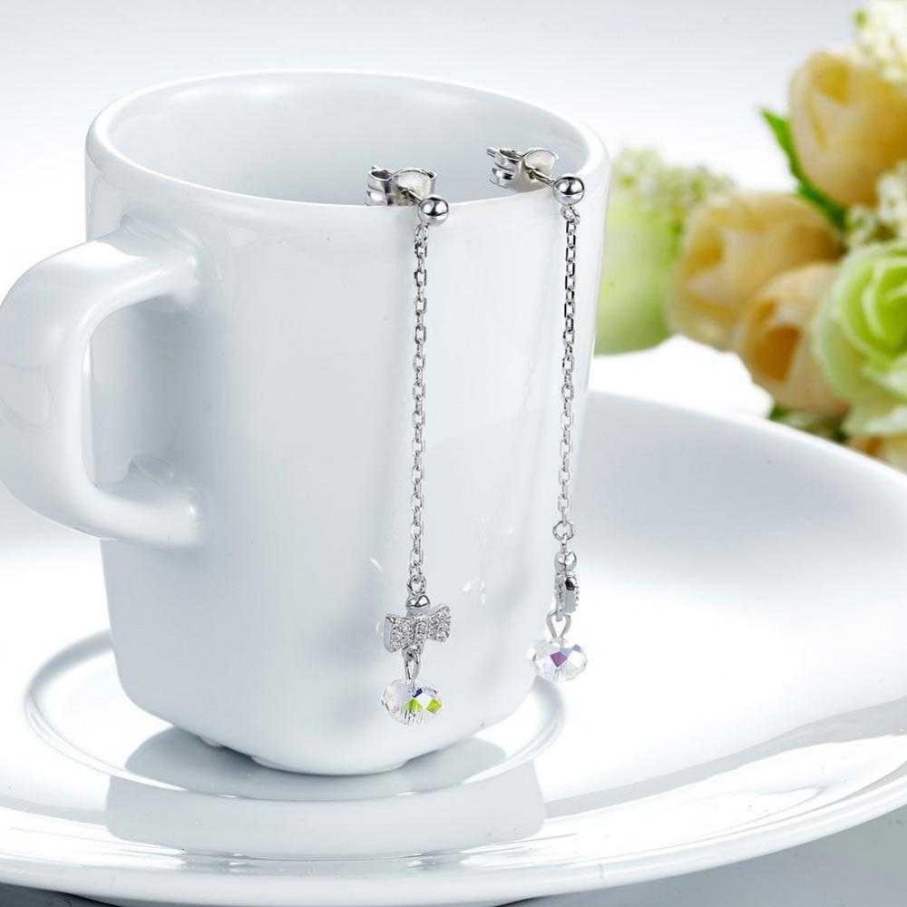 Solid 925 Sterling Silver Drop Dangle Ribbon AB Crystal Earrings