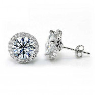image of 2 Carat Round Cut Created Diamond Halo Stud 925 Sterling Silver Earrings XFE8102