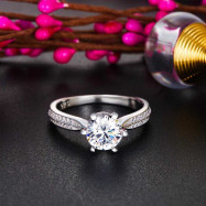 image of Engagement Crown Ring 925 Sterling Silver 1 Ct Created Diamond