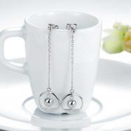 image of Solid 925 Sterling Silver Long Drop Dangle Love Earrings