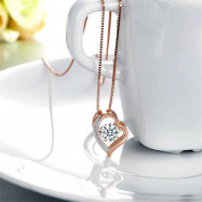 image of Dancing Stone Heart Pendant Necklace Solid 925 Sterling Silver Rose GoldPlated