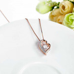Dancing Stone Heart Pendant Necklace Solid 925 Sterling Silver Rose GoldPlated